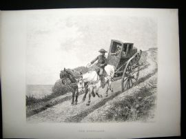 A. La Lauze after R. Goubie 1878 Etching, The Postillion